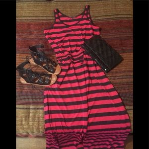 Red and black striped maxi dress - size small